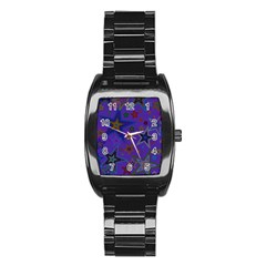 Purple Christmas Party Stars Stainless Steel Barrel Watch