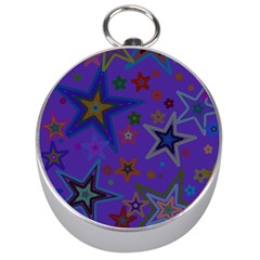 Purple Christmas Party Stars Silver Compasses