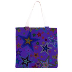 Purple Christmas Party Stars Grocery Light Tote Bag