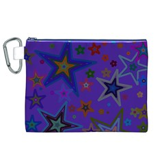 Purple Christmas Party Stars Canvas Cosmetic Bag (XL)