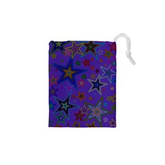 Purple Christmas Party Stars Drawstring Pouches (XS)