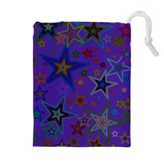 Purple Christmas Party Stars Drawstring Pouches (extra Large)