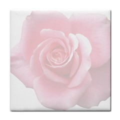 Pink White Love Rose Tile Coasters