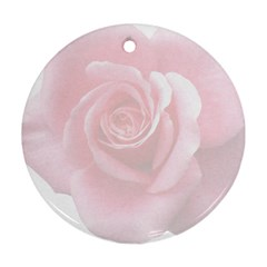 Pink White Love Rose Round Ornament (Two Sides)