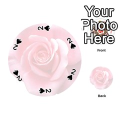 Pink White Love Rose Playing Cards 54 (Round)