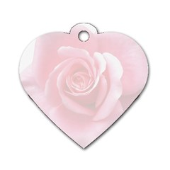 Pink White Love Rose Dog Tag Heart (One Side)