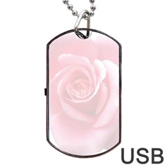 Pink White Love Rose Dog Tag USB Flash (One Side)