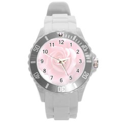 Pink White Love Rose Round Plastic Sport Watch (L)
