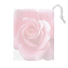 Pink White Love Rose Drawstring Pouches (Extra Large)
