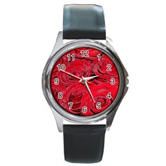 Red Love Roses Round Metal Watch