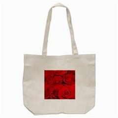 Red Love Roses Tote Bag (Cream)