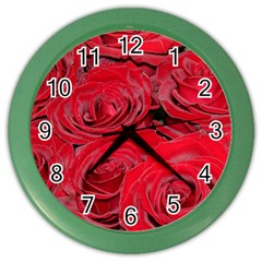Red Love Roses Color Wall Clocks
