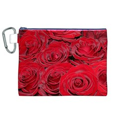 Red Love Roses Canvas Cosmetic Bag (XL)