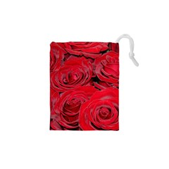 Red Love Roses Drawstring Pouches (XS)