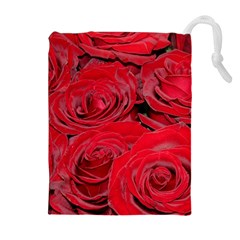 Red Love Roses Drawstring Pouches (extra Large)