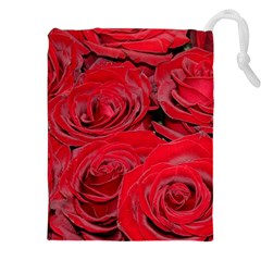 Red Love Roses Drawstring Pouches (XXL)