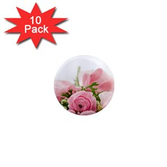 Romantic Pink Flowers 1  Mini Magnet (10 pack)