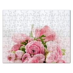 Romantic Pink Flowers Rectangular Jigsaw Puzzl