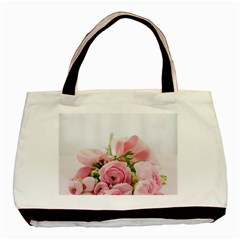 Romantic Pink Flowers Basic Tote Bag