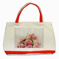 Romantic Pink Flowers Classic Tote Bag (Red)