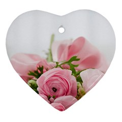 Romantic Pink Flowers Heart Ornament (2 Sides)