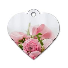 Romantic Pink Flowers Dog Tag Heart (Two Sides)