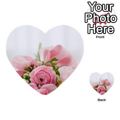 Romantic Pink Flowers Multi Purpose Cards (heart)