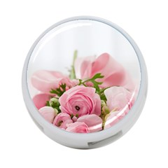 Romantic Pink Flowers 4-Port USB Hub (Two Sides)