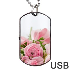 Romantic Pink Flowers Dog Tag USB Flash (Two Sides)