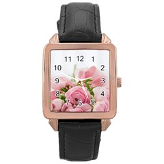 Romantic Pink Flowers Rose Gold Leather Watch