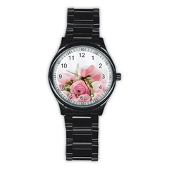 Romantic Pink Flowers Stainless Steel Round Watch