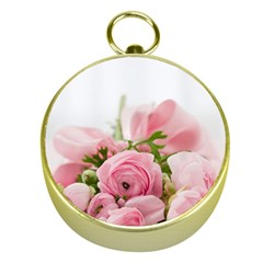 Romantic Pink Flowers Gold Compasses