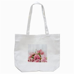 Romantic Pink Flowers Tote Bag (White)