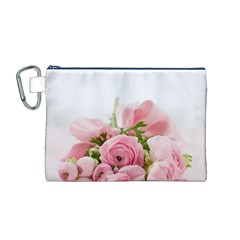 Romantic Pink Flowers Canvas Cosmetic Bag (M)