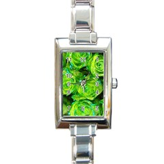 Festive Green Glitter Roses Valentine Love  Rectangle Italian Charm Watch
