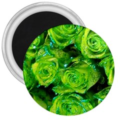 Festive Green Glitter Roses Valentine Love  3  Magnets
