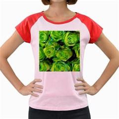 Festive Green Glitter Roses Valentine Love  Women s Cap Sleeve T-Shirt