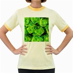 Festive Green Glitter Roses Valentine Love  Women s Fitted Ringer T-Shirts