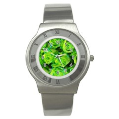 Festive Green Glitter Roses Valentine Love  Stainless Steel Watch