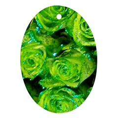 Festive Green Glitter Roses Valentine Love  Oval Ornament (Two Sides)