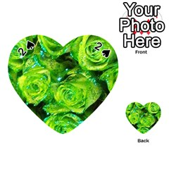 Festive Green Glitter Roses Valentine Love  Playing Cards 54 (Heart)