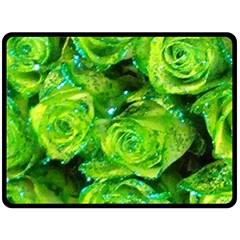 Festive Green Glitter Roses Valentine Love  Fleece Blanket (large)