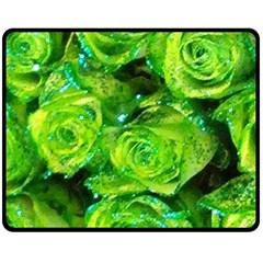 Festive Green Glitter Roses Valentine Love  Double Sided Fleece Blanket (medium)