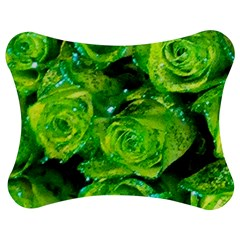 Festive Green Glitter Roses Valentine Love  Jigsaw Puzzle Photo Stand (Bow)