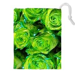 Festive Green Glitter Roses Valentine Love  Drawstring Pouches (xxl)