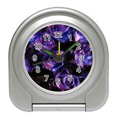 Purple Glitter Roses Valentine Love Travel Alarm Clocks
