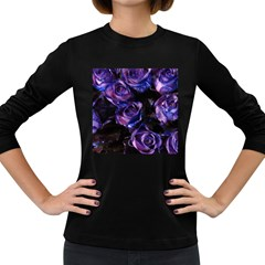 Purple Glitter Roses Valentine Love Women s Long Sleeve Dark T-Shirts
