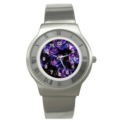 Purple Glitter Roses Valentine Love Stainless Steel Watch