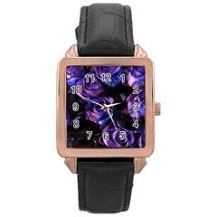 Purple Glitter Roses Valentine Love Rose Gold Leather Watch