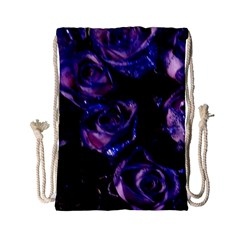 Purple Glitter Roses Valentine Love Drawstring Bag (small)